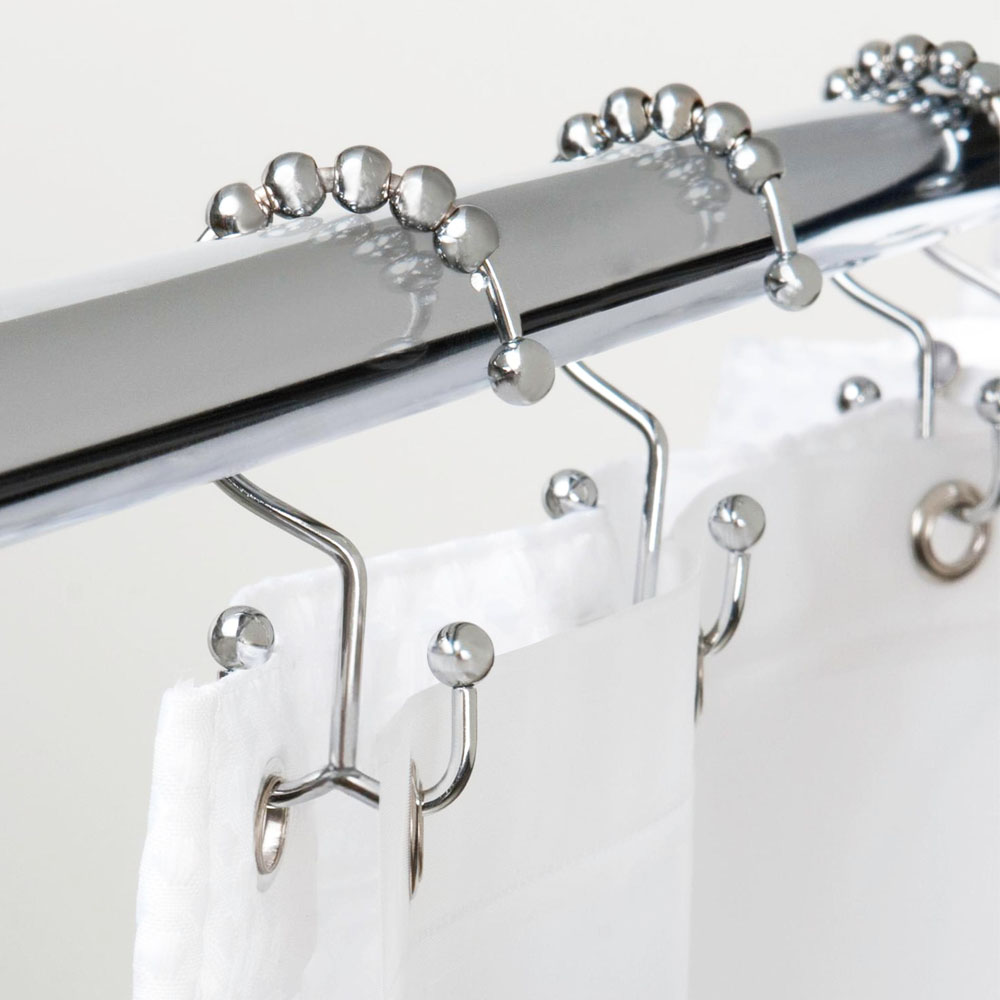 12 Double Glide Roller Shower Curtain Rings