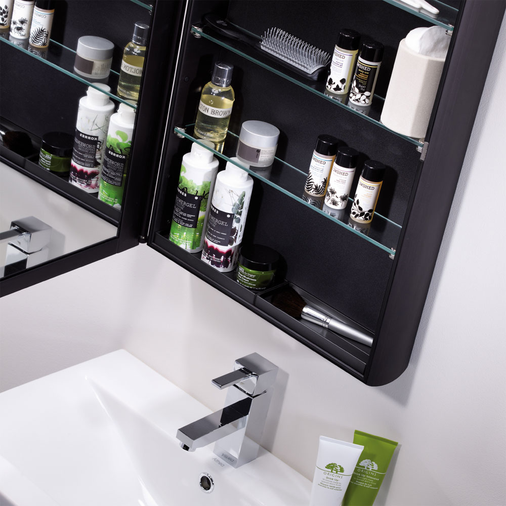 Roper Rhodes Limit Slimline Mirror Cabinet - Black - AS415BL profile large image view 2