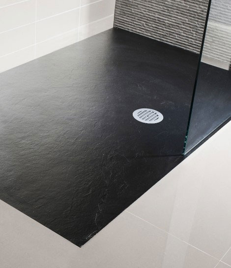 Simpsons - Black Textured Slate Effect Shower Tray with Waste - 5 Size options Large Image