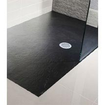 Simpsons - Black Textured Slate Effect Shower Tray with Waste - 5 Size options Medium Image
