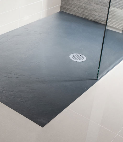 Simpsons - Grey Textured Slate Effect Shower Tray with Waste profile large image view 1