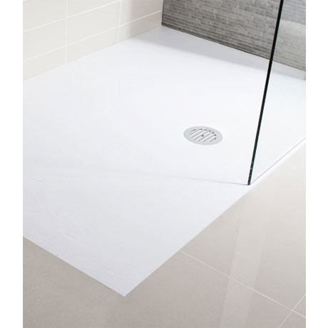 Simpsons White Anti-Slip Textured Slate Effect Shower Tray with Waste - 5 Size options