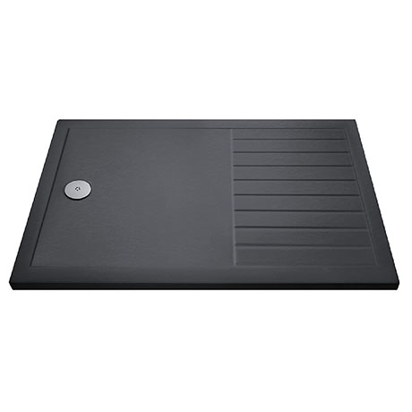 Aurora 1400 x 800 Slate Effect Walk In Shower Tray With Drying Area