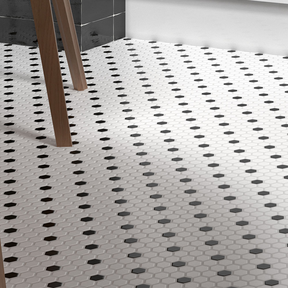 Ashford Hexagon Black & White Mosaic Tile Sheet - 260 x 300mm