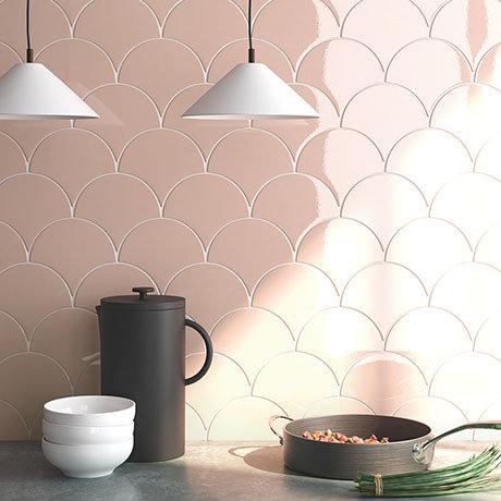 Asheville Pink Fan Wall Tiles