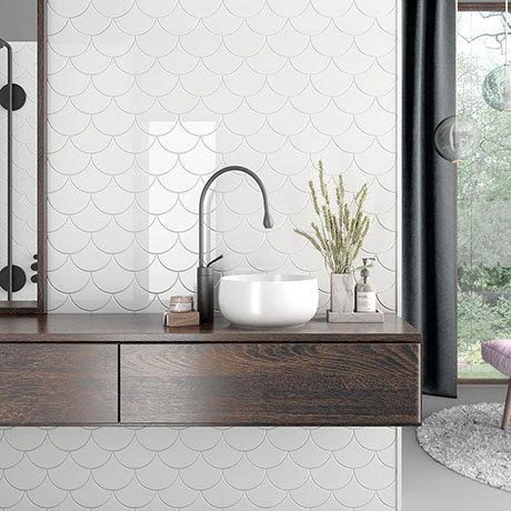 Asheville White Fan Wall Tiles 134 x 150mm