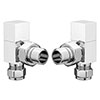 Square Angled Radiator Valves - Chrome profile small image view 1