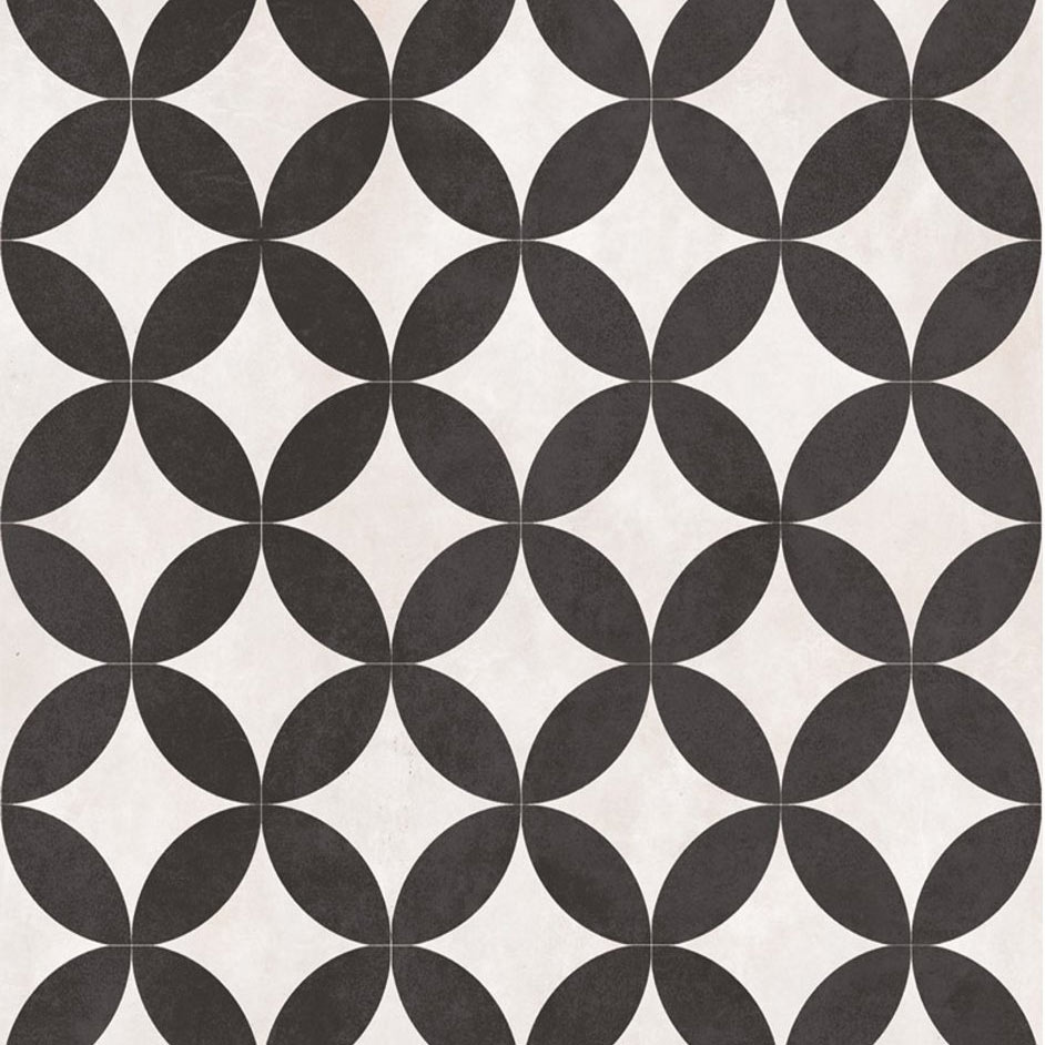 Aspect Black & Ivory Patterned Floor Tiles - 331 x 331mm  Feature Large Image