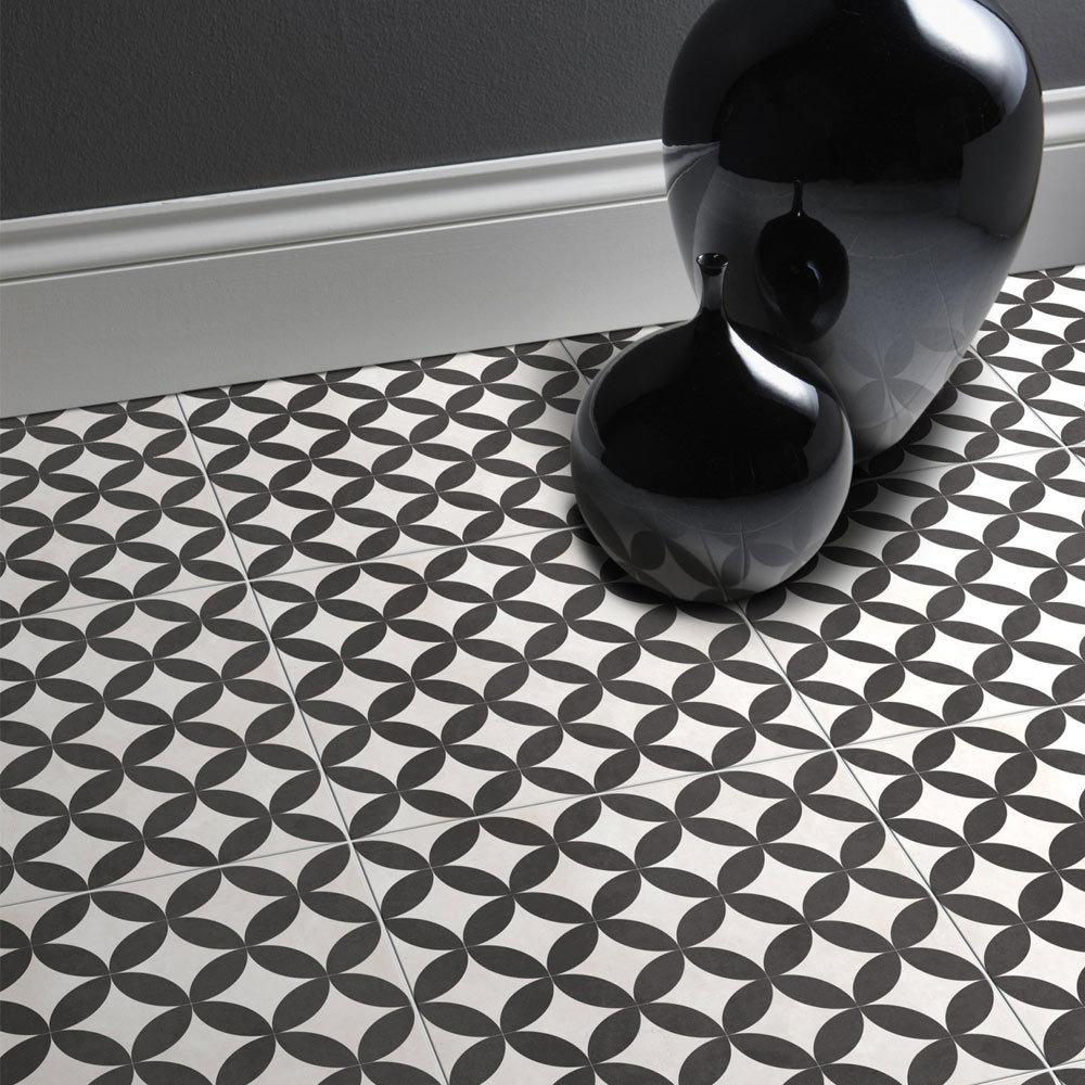 Floor tiles bathroom floor tiles victorian plumbing aspect black ivory patterned floor tiles 331 x 331mm medium image dailygadgetfo Choice Image