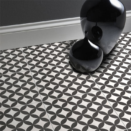 Aspect Black & Ivory Patterned Floor Tiles - 331 x 331mm
