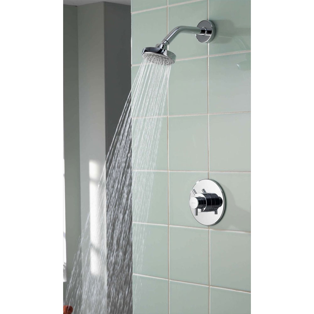 Aqualisa - Aspire DL Concealed Thermostatic Shower Valve with Wall Mounted Fixed Head - ASP001CF Standard Large Image