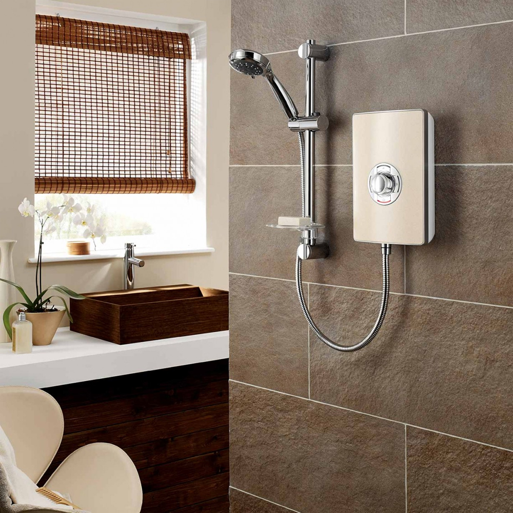 Triton - Aspirante 8.5kw Electric Shower - Riviera Sand - ASP08TLRSD profile large image view 2