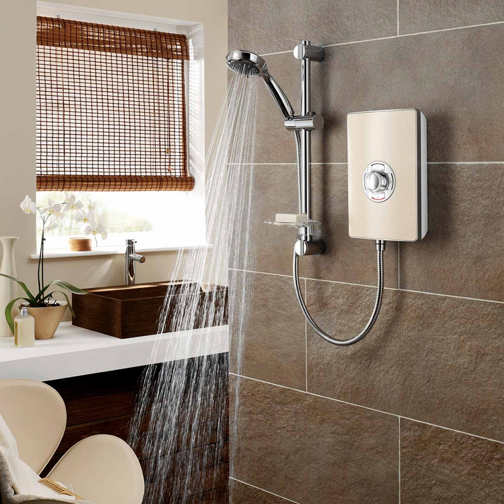 Triton - Aspirante 8.5kw Electric Shower - Riviera Sand - ASP08TLRSD profile large image view 3