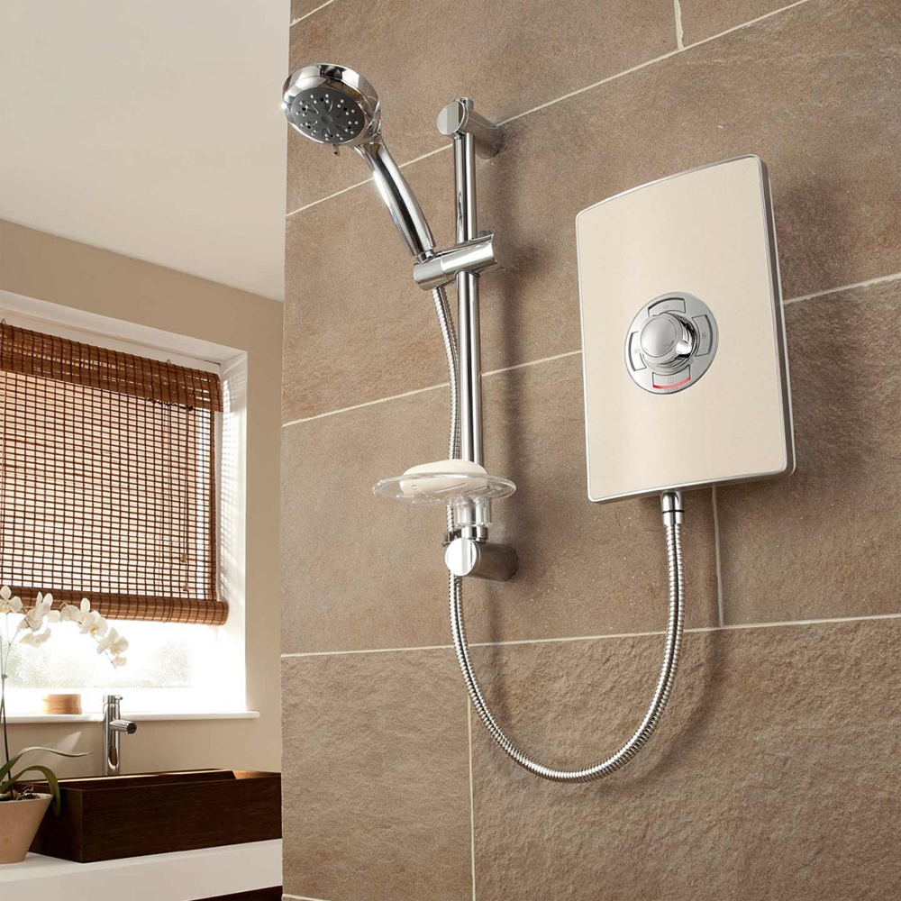 Triton - Aspirante 8.5kw Electric Shower - Riviera Sand - ASP08TLRSD profile large image view 4