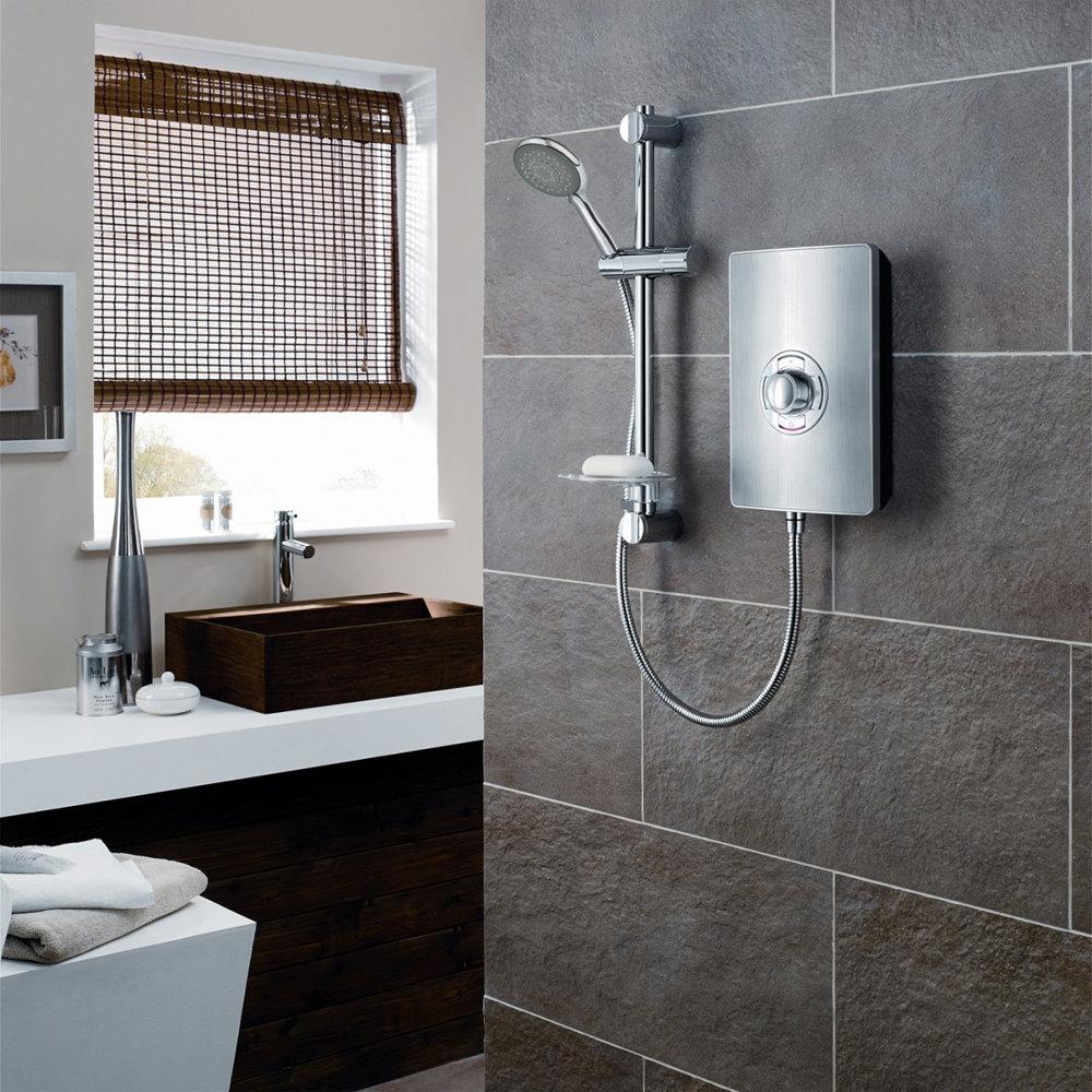 Triton - Aspirante 9.5kw Electric Shower - Brushed Steel - ASP09BRSTL profile large image view 3