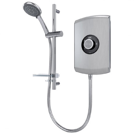 Triton Amore 8.5kW Electric Shower - Brushed Steel - ASPAMO8BRSTL