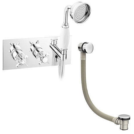 Astoria Traditional Concealed Thermostatic 2-Way Shower Valve with Handset + Freeflow Bath Filler