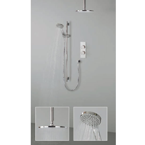 Crosswater Digital Atom Duo Shower with Slide Rail Shower Kit and Ceiling Mounted Fixed Showerhead Large Image