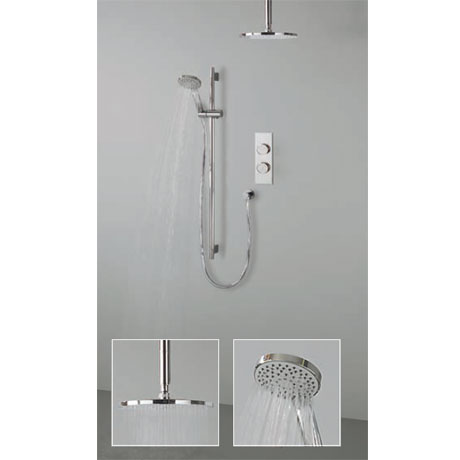 Crosswater Digital Atom Duo Shower with Slide Rail Shower Kit and Ceiling Mounted Fixed Showerhead