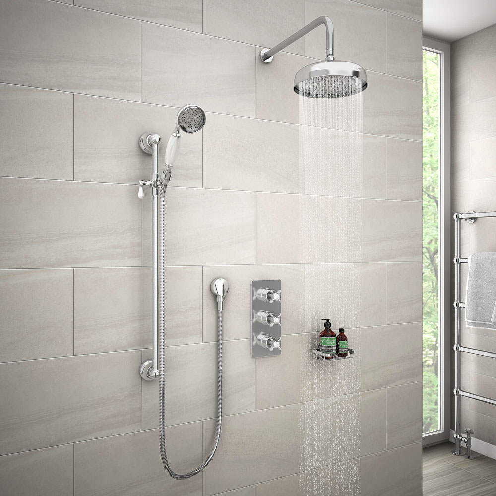 """Astoria Traditional Concealed Shower Valve Inc. 8"""" Head with Arm & Slider Rail"""