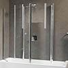Novellini Aurora 4 Centre Wall Twin Folding Bath Screen profile small image view 1