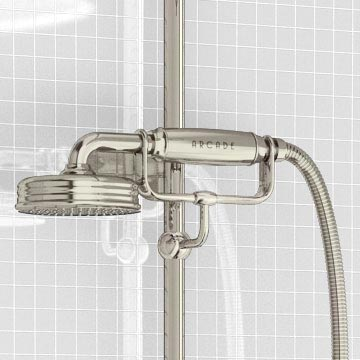 Arcade Avon Thermostatic Two Outlet Exposed Shower Valve, Rigid Riser & Kit with Fixed Head - Nickel
