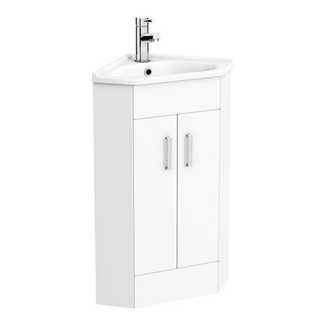 Alaska High Gloss White Corner Cabinet Vanity Unit With Ceramic Basin
