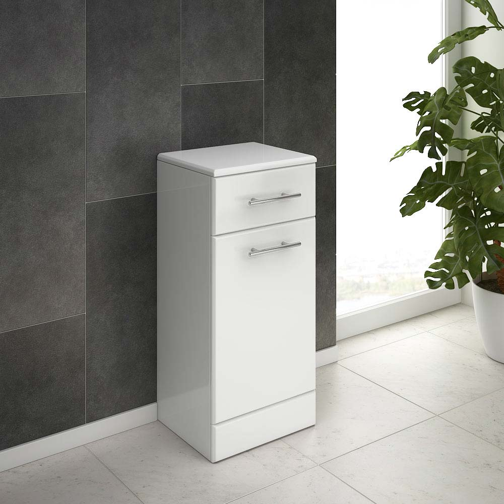 Alaska 350mm Deep Laundry Basket (High Gloss White - Depth 300mm) profile large image view 3