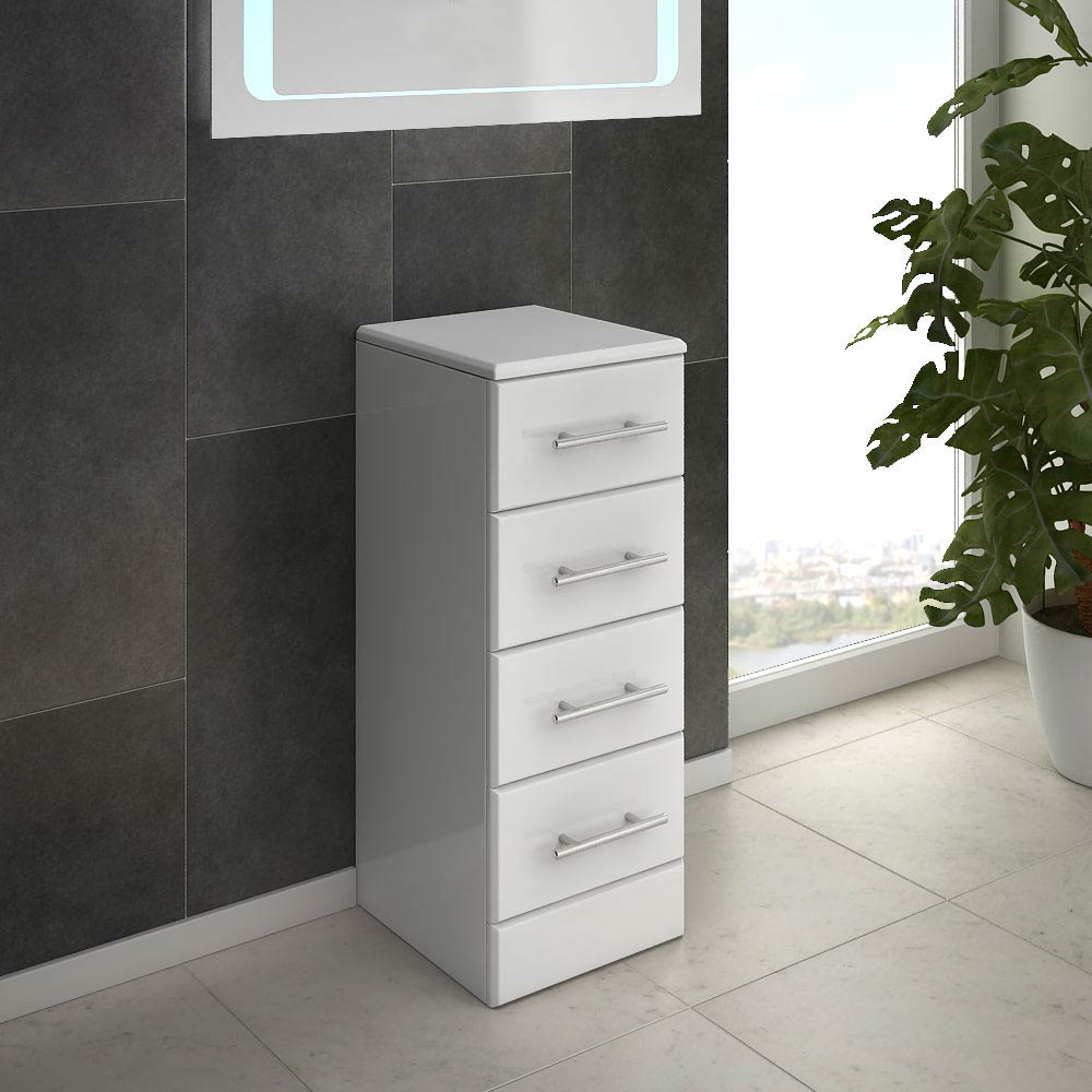 Alaska 300mm Deep 4 Drawer Unit (High Gloss White - Depth 330mm) profile large image view 2