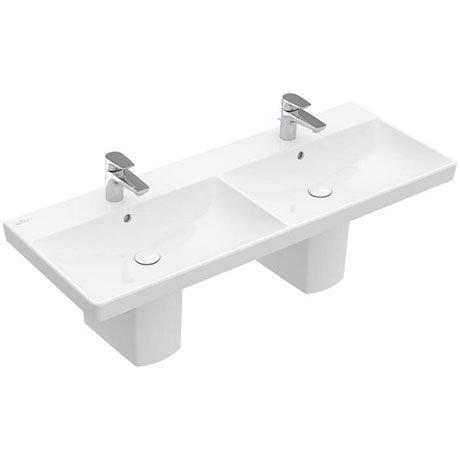 Villeroy and Boch Avento 1200 x 470mm Double Basin + Semi Pedestals