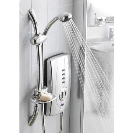 Hudson Reed Chic 650 Slimline Electric Shower - 9.5kW - Chrome - AX310 profile large image view 2