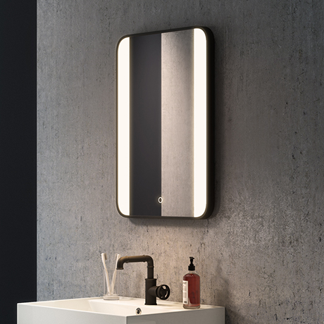 Arezzo Matt Black 500 x 700mm Rectangular LED Illuminated Anti-Fog Bathroom Mirror