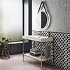 Arezzo 1000 Brushed Brass Framed Washstand with Gloss White Open Shelf and Basin profile small image view 1