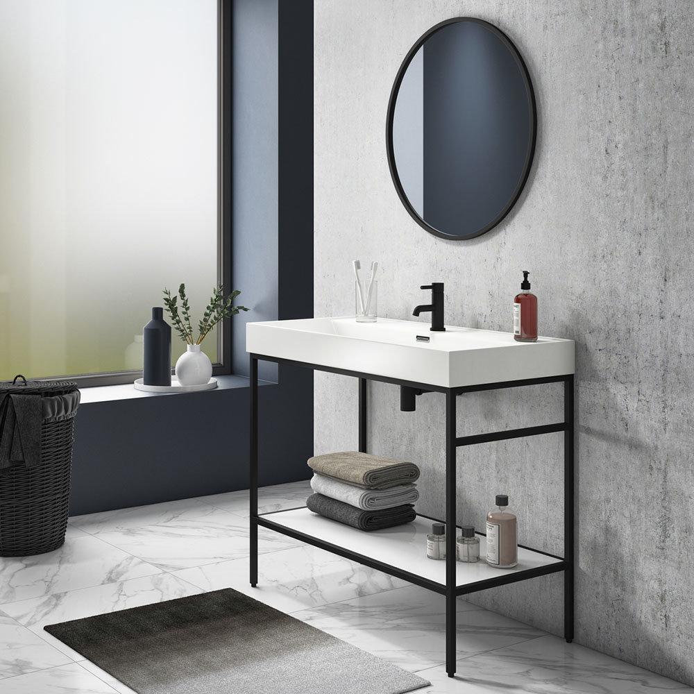 Arezzo 1000 Matt Black Framed Washstand with Gloss White Open Shelf and Basin