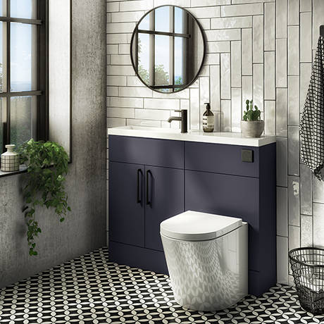 Arezzo 1100 Matt Blue Slimline Combination Vanity Unit (Matt Black Flush & Handles)