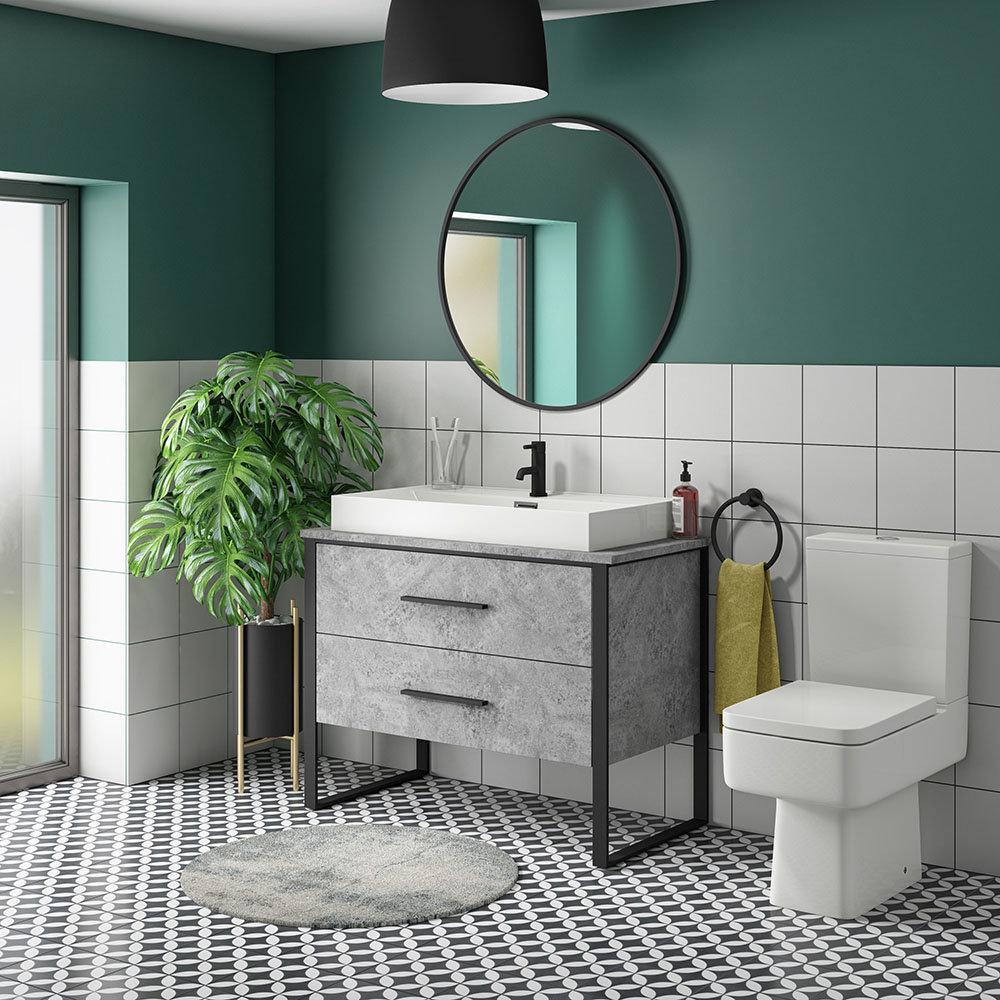 Arezzo 1000 Concrete-Effect Matt Black Framed Vanity Unit + Square Toilet