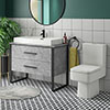 Arezzo 1000 Concrete-Effect Matt Black Framed Vanity Unit + Square Toilet profile small image view 1