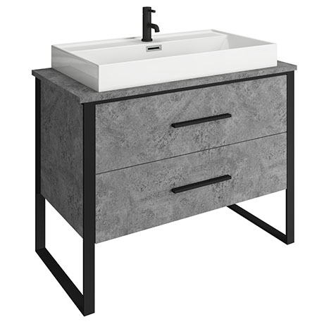 Arezzo 1000 Concrete-Effect Matt Black Framed 2 Drawer Vanity Unit with Countertop Basin