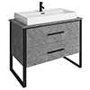 Arezzo 1000 Concrete-Effect Matt Black Framed 2 Drawer Vanity Unit with Countertop Basin profile small image view 1