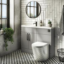 Arezzo 1100 Matt Grey Slimline Combination Vanity Unit (Matt Black Flush & Handles)