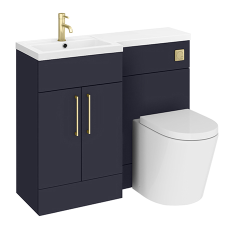 Arezzo 1000 Matt Blue Combination Furniture Pack (Brushed Brass Flush & Handles)