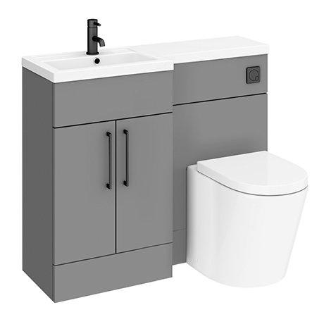 Arezzo 1000 Matt Grey Combination Furniture Pack (Matt Black Flush & Handles)