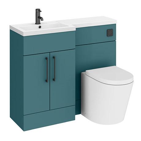 Arezzo 1000 Matt Green Combination Furniture Pack (Matt Black Flush & Handles)