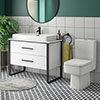Arezzo 1000 Gloss White Matt Black Framed Vanity Unit + Square Toilet profile small image view 1