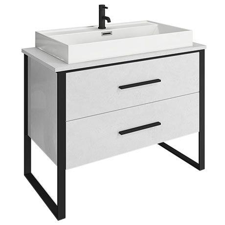 Arezzo 1000 Gloss White Matt Black Framed 2 Drawer Vanity Unit with Countertop Basin