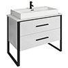Arezzo 1000 Gloss White Matt Black Framed 2 Drawer Vanity Unit with Countertop Basin profile small image view 1