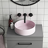 Arezzo 352mm Matt Pink Round Counter Top Basin profile small image view 1