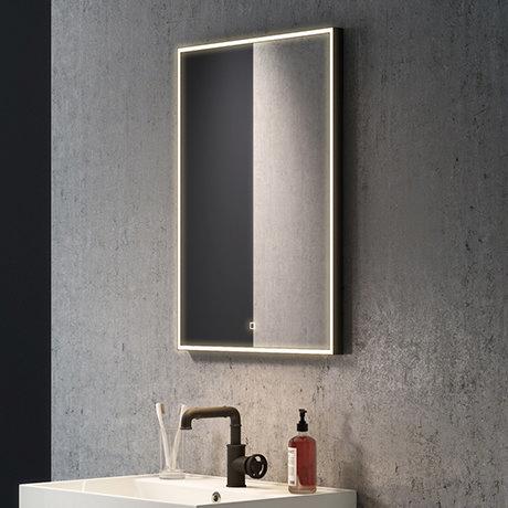Arezzo Matt Black 520 x 720mm Rectangular LED Illuminated Anti-Fog Bathroom Mirror