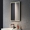 Arezzo Matt Black 520 x 720mm Rectangular LED Illuminated Anti-Fog Bathroom Mirror profile small image view 1