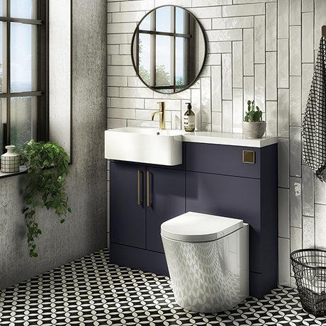 Arezzo 1100 Matt Blue Semi-Recessed Round Combination Vanity Unit (Brushed Brass Flush & Handles)
